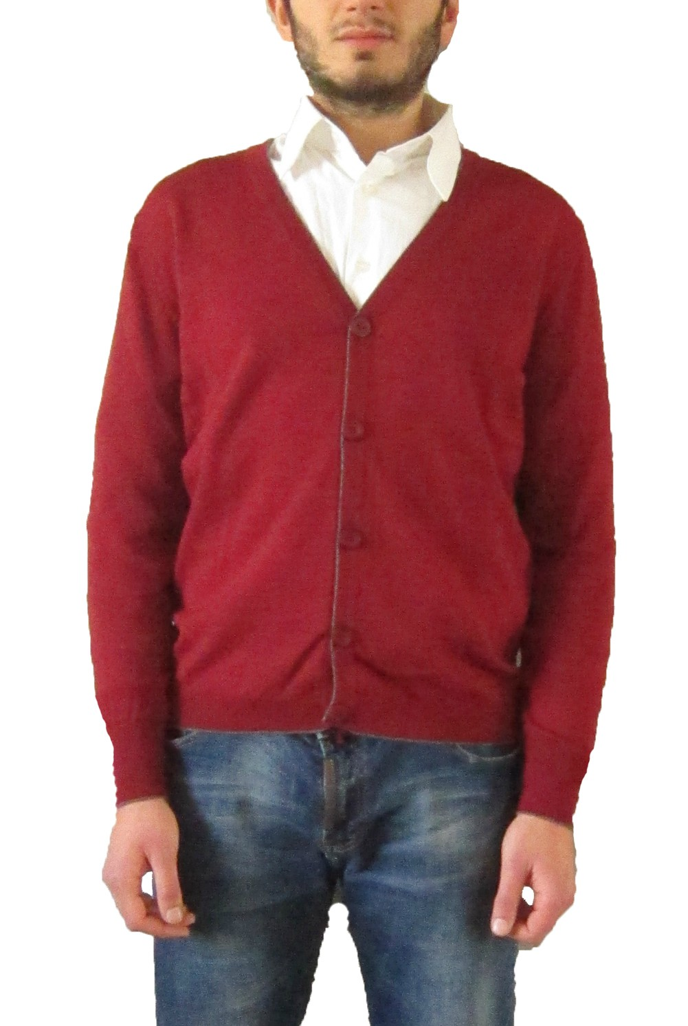 Cardigan with Buttons - Bordeaux