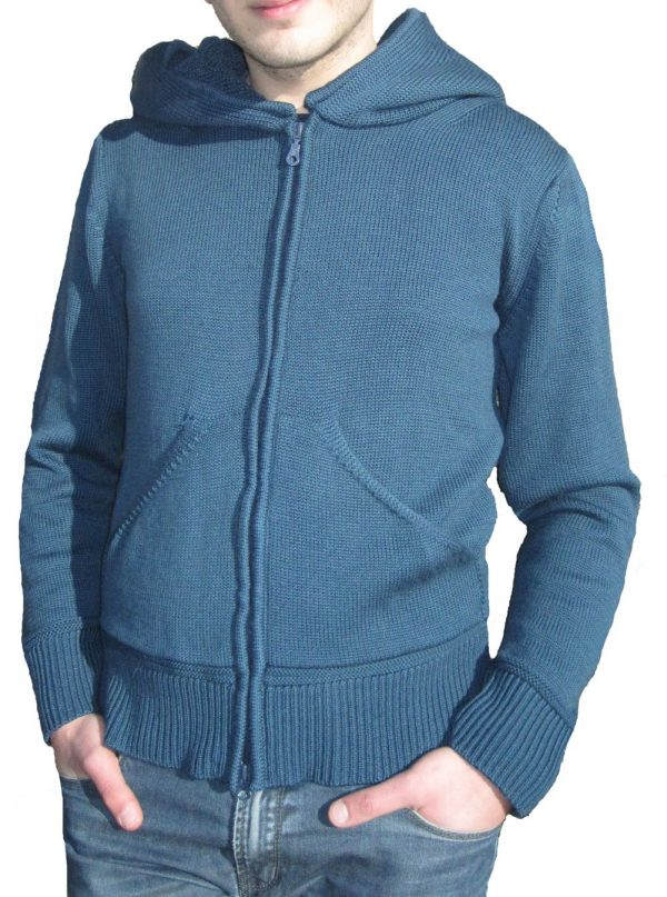 Cardigan with Cap in Sponge Point - Aviation Blue
