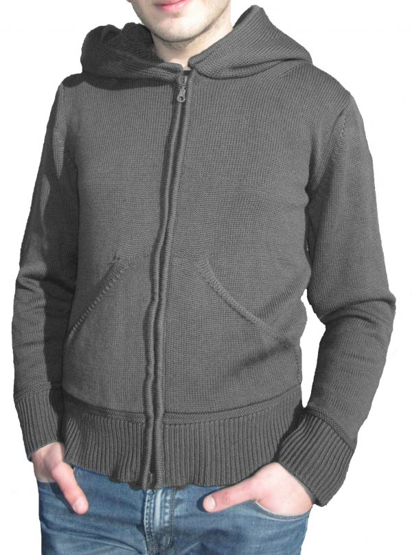 Cardigan with Cap in Sponge Point - Grey