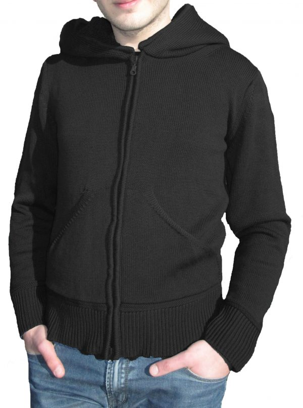 Cardigan with Cap in Sponge Point - Black