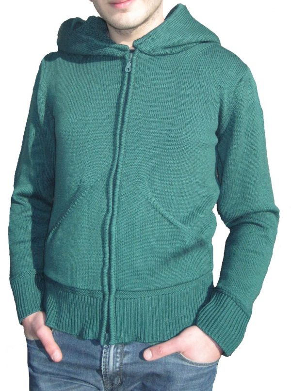 Cardigan with Cap in Sponge Point - Sea Green