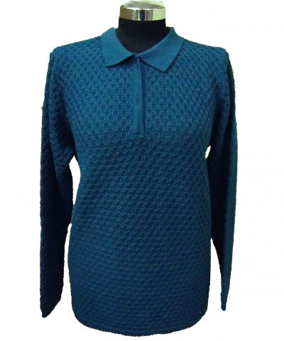 Polo Sweater in Bubble Knitwork - Aqua