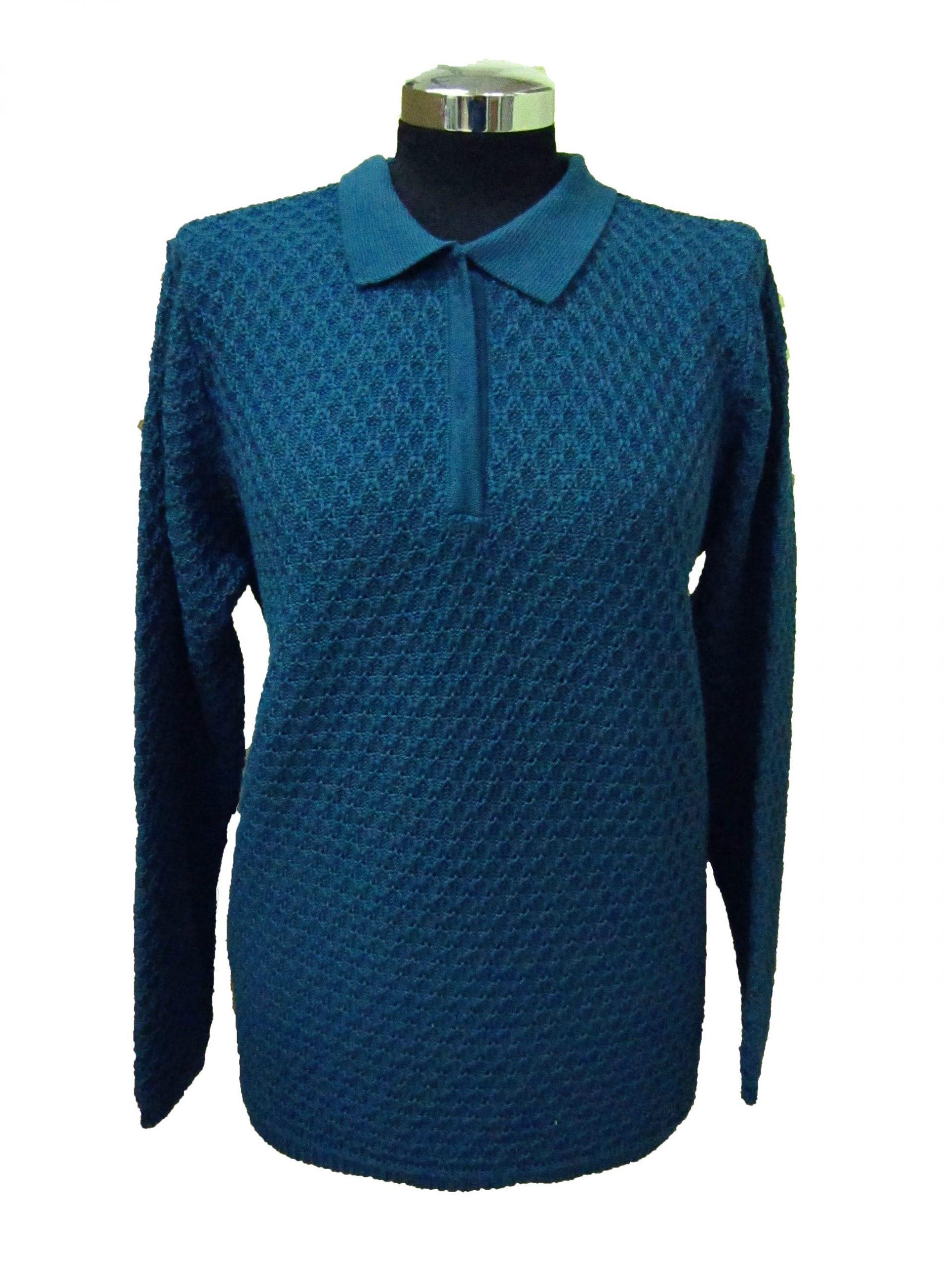 Polo Sweater in Bubble Knitwork - Aqua