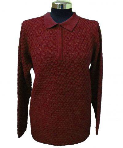 Polo Sweater in Bubble Knitwork - Bordeaux