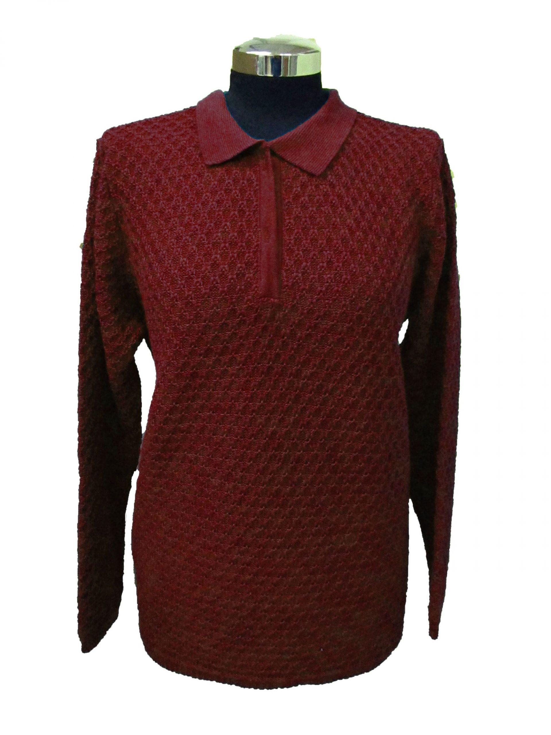 Polo Sweater in Bubble Knitwork - Bordeaux