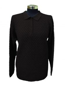 Polo Sweater in Bubble Knitwork - Black