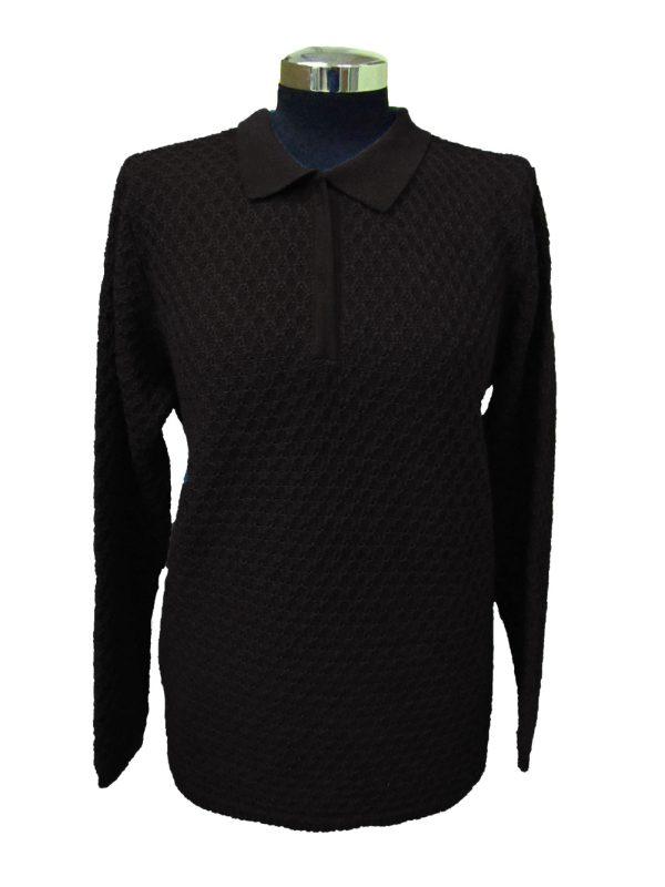 Polo Lavorazione 11 Nera - Black Polo Sweater Work 11