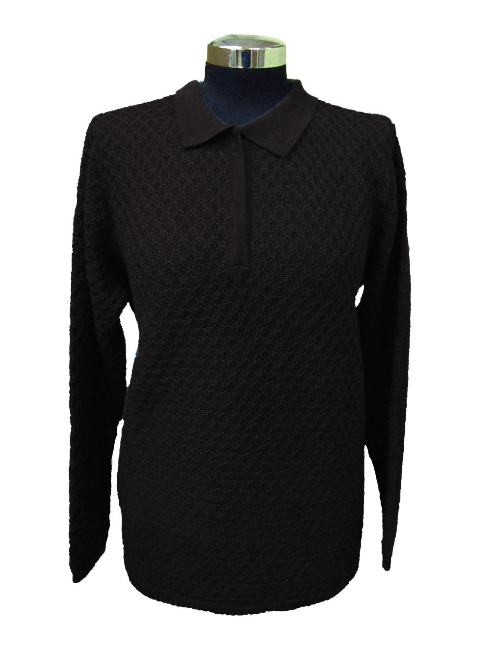 Polo Sweater in Bubble Knitwork - Black