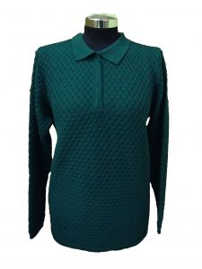 Polo Sweater in Bubble Knitwork - Teal