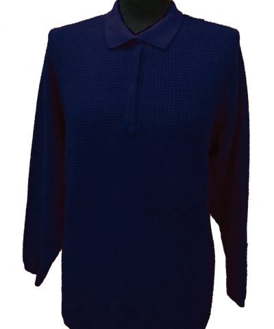 Polo Sweater with Particular Knitwork - Blue