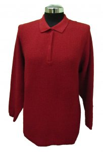 Polo Sweater with Particular Knitwork - Bordeaux