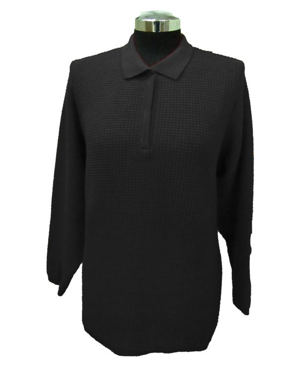 Polo Sweater with Particular Knitwork - Black
