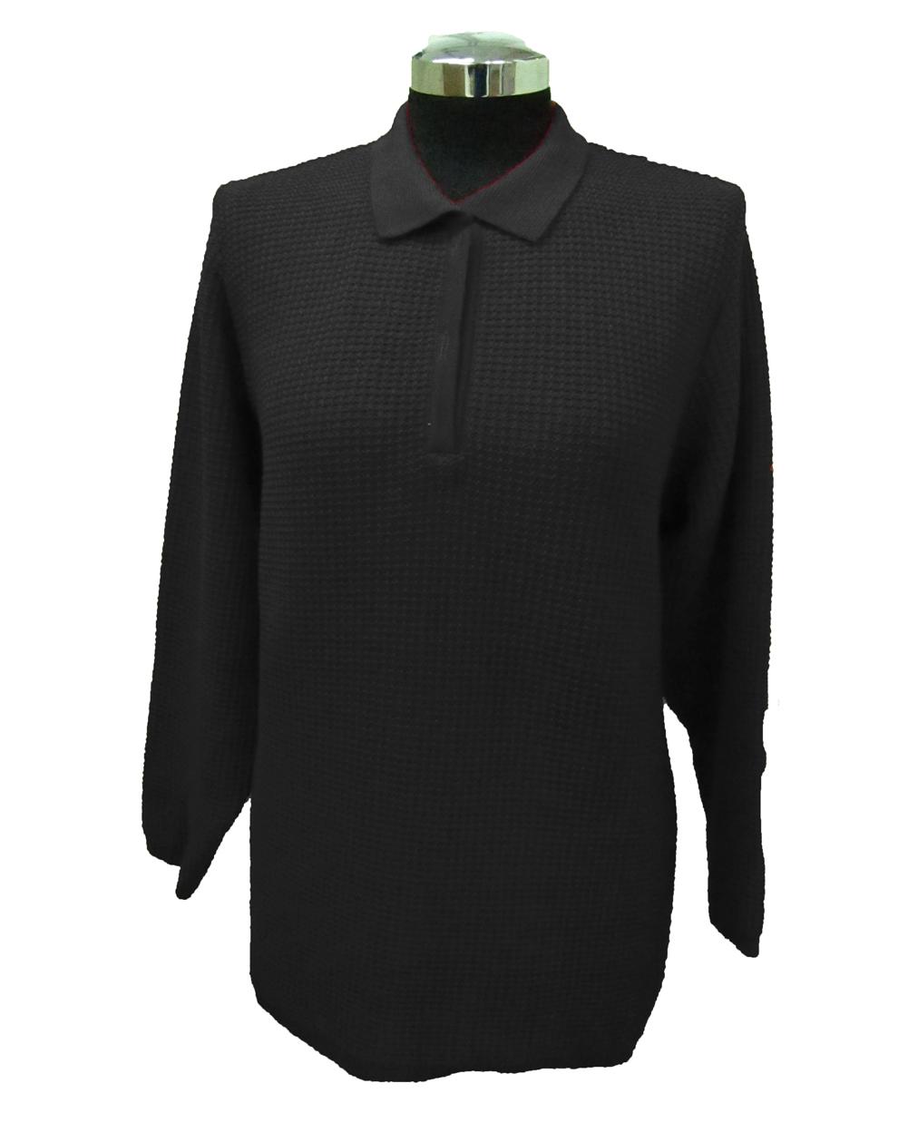 Maglia Polo Lavorazione 13 Nero - Black Polo Sweater Work 13