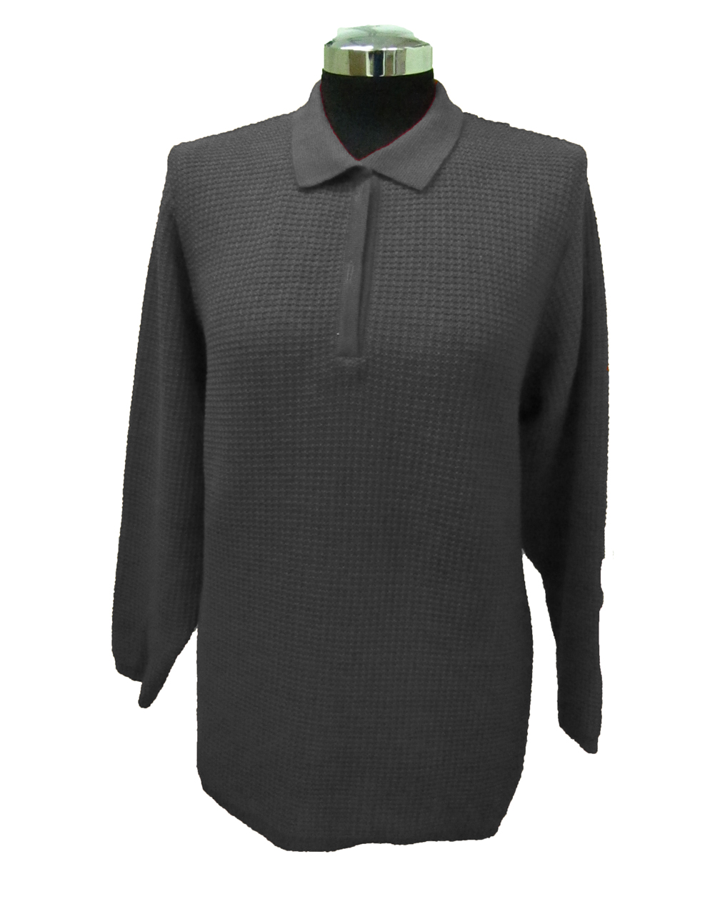 Polo Sweater with Particular Knitwork - Grey