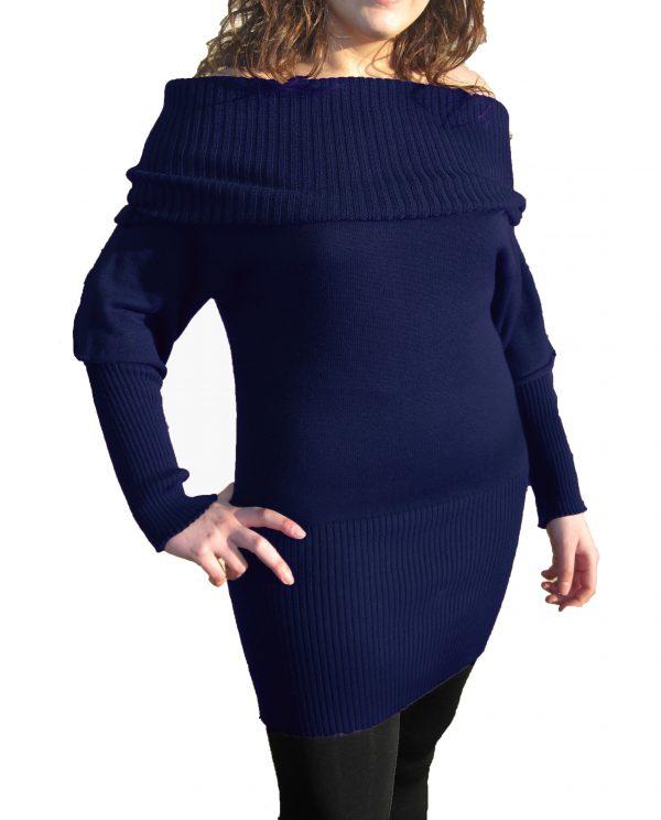 Knitwear Short Dress with Boat Neck - Blue