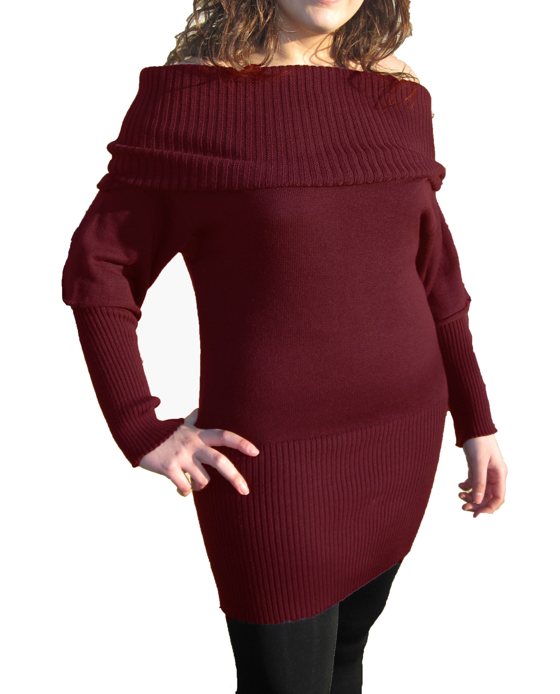 Knitwear Short Dress with Boat Neck - Bordeaux