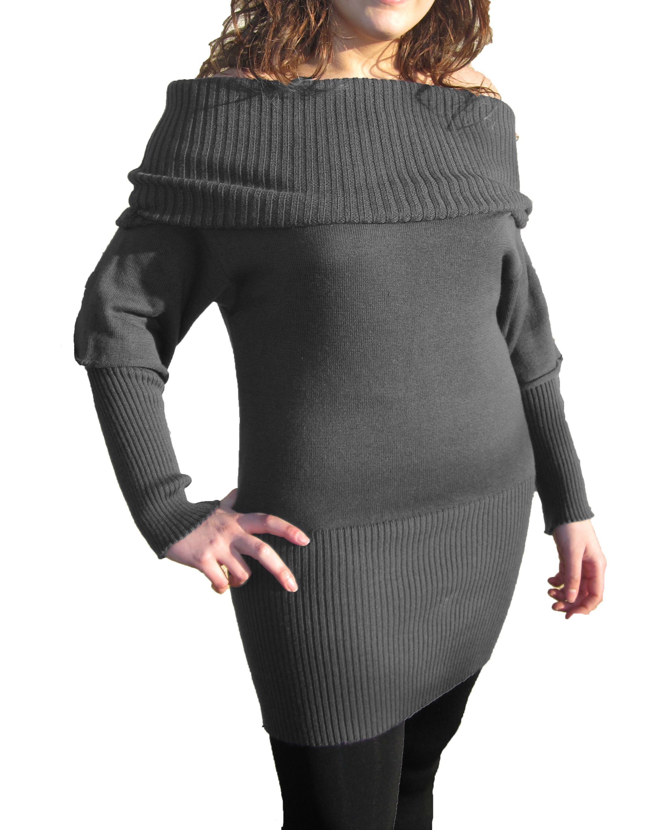 Knitwear Short Dress with Boat Neck - Grey