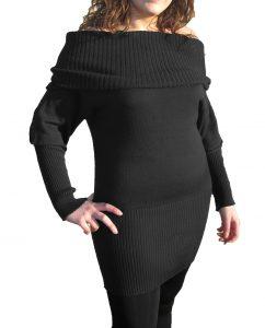 Knitwear Short Dress with Boat Neck - Black