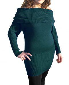 Knitwear Short Dress with Boat Neck - Sea Green