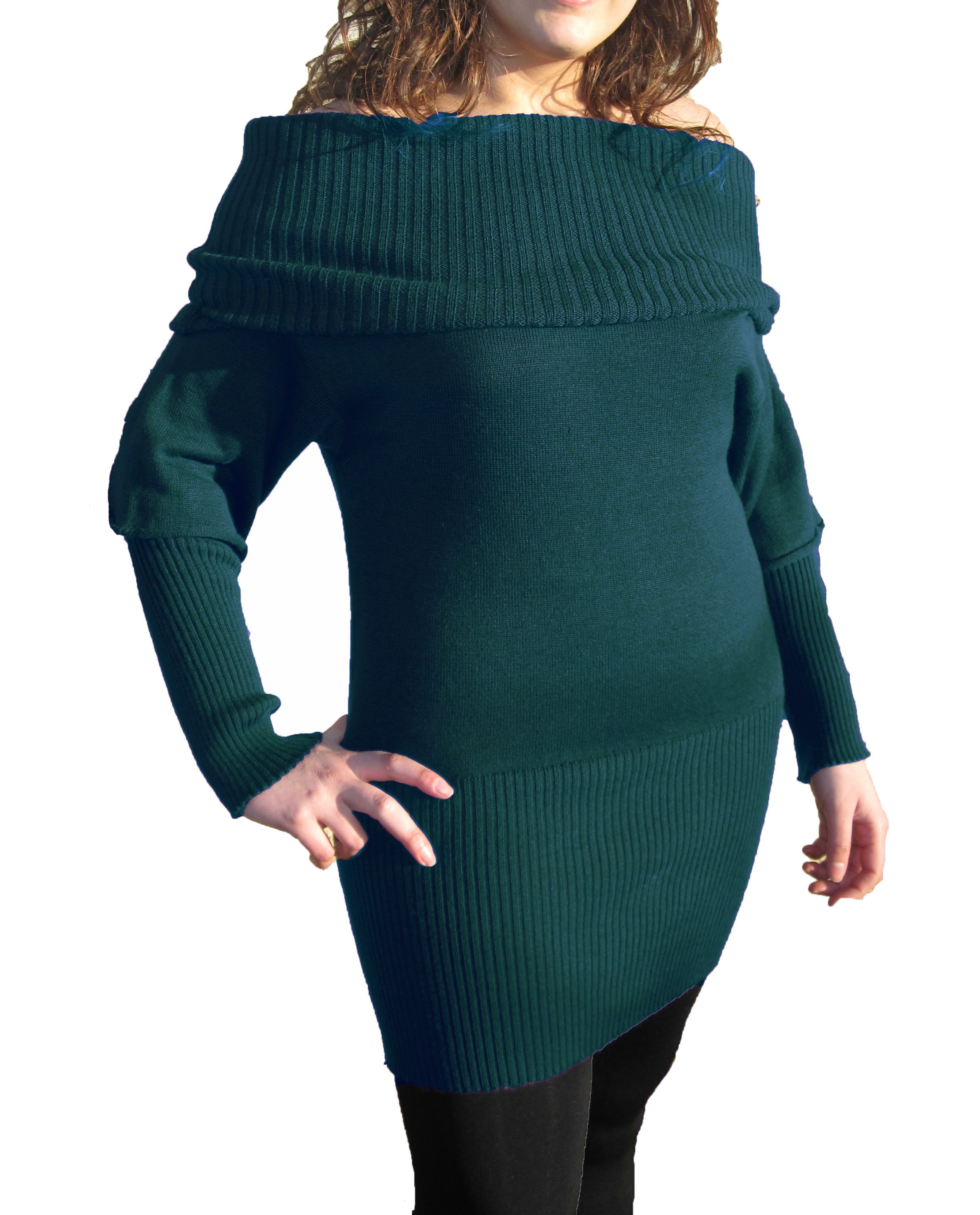 Knitwear Short Dress with Boat Neck - Sea Green