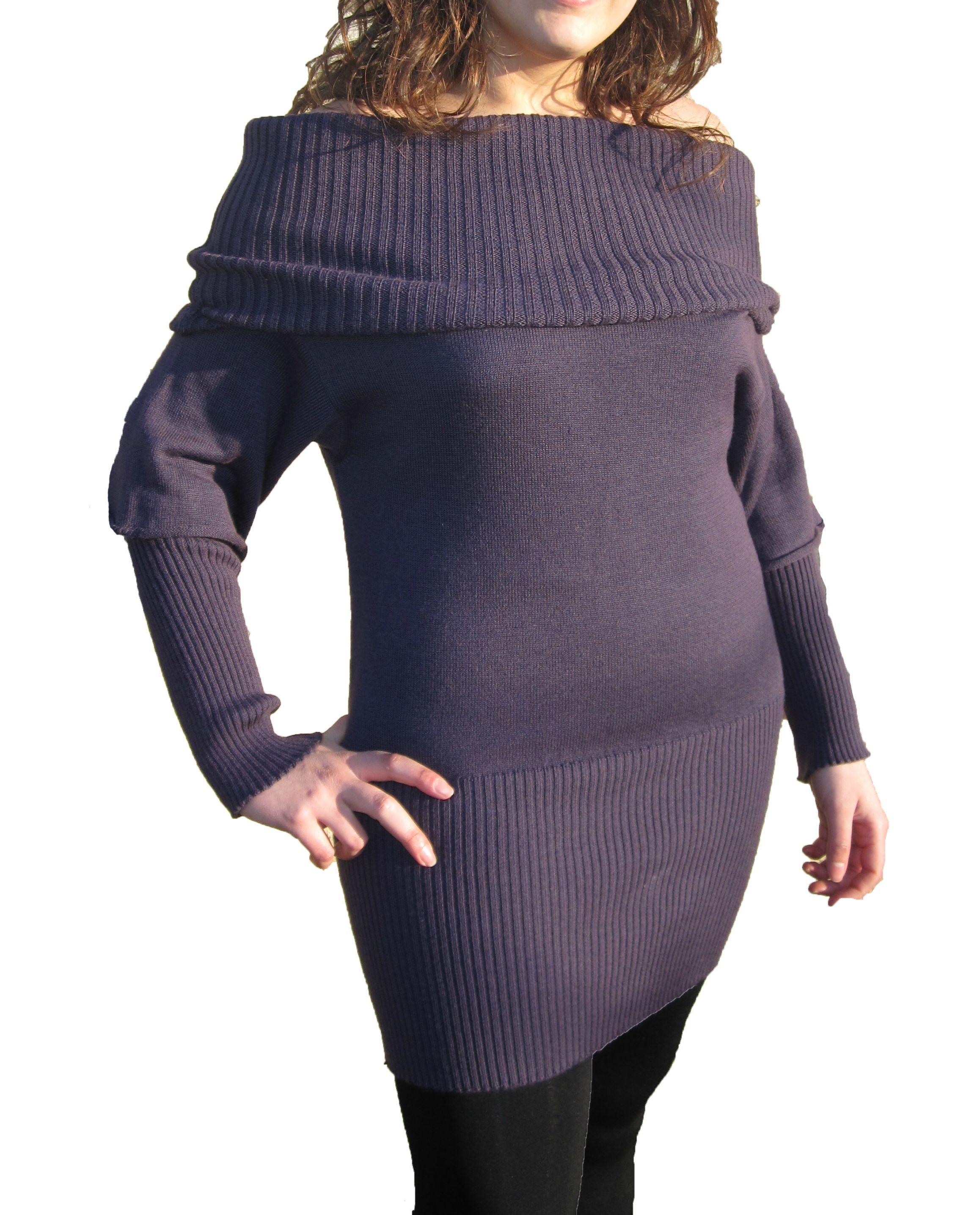 Knitwear Short Dress with Boat Neck - Violet