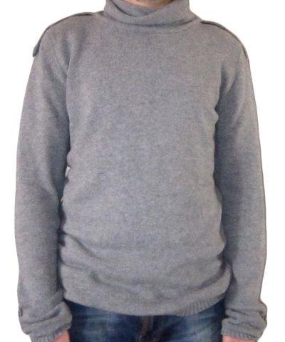 Maglia in Cachemire con Mostrine Collo Alto Grigio - sweater in cashmere beige with epaulettes grey