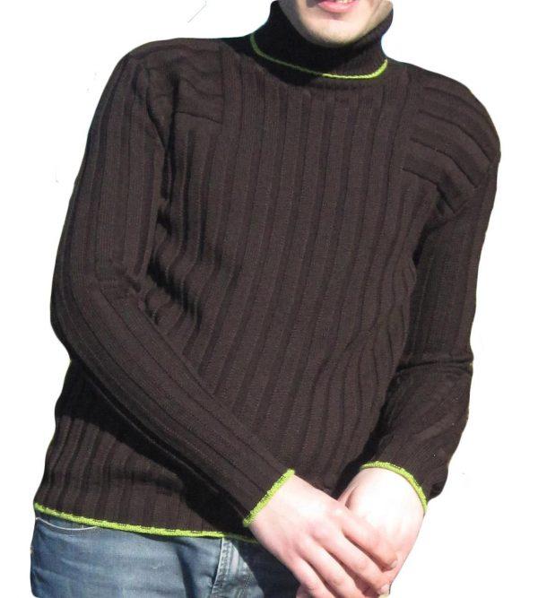 Maglia a Coste 6x6 Collo Alto Moro - Sweater with Ribbon 6x6 Turtleneck Brown