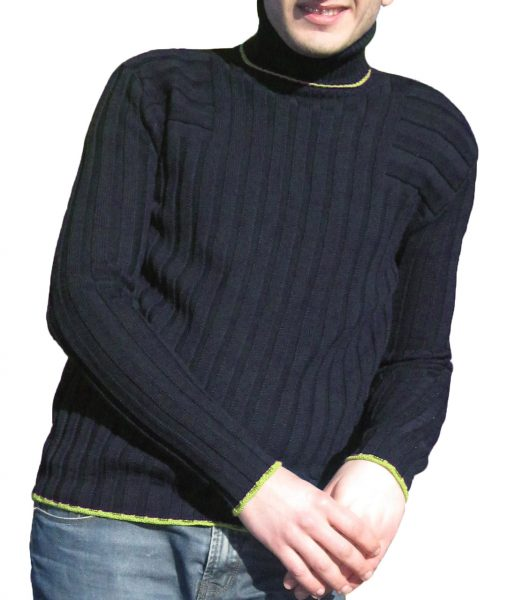 Maglia a Coste 6x6 Collo Alto Blu - Sweater with Ribbon 6x6 Turtleneck Blue