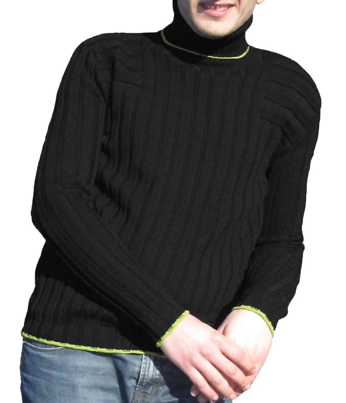 Maglia a Coste 6x6 Collo Alto Nero- Sweater with Ribbon 6x6 Turtleneck Black