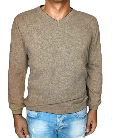 maglia di cachemire beige 1 - sweater in cashmere v-neck beige