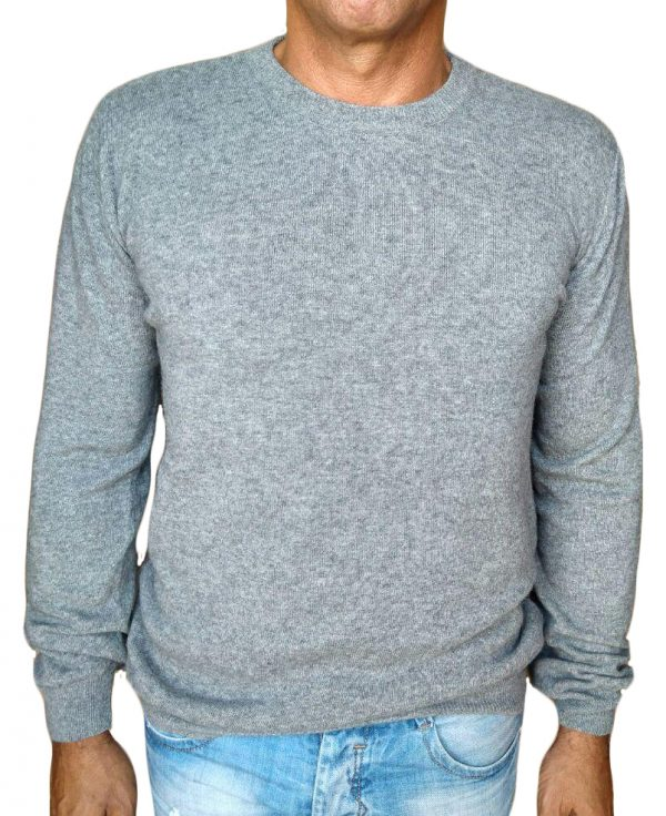 maglia in cachemire giro grigio - sweater in cashmere round neck grey