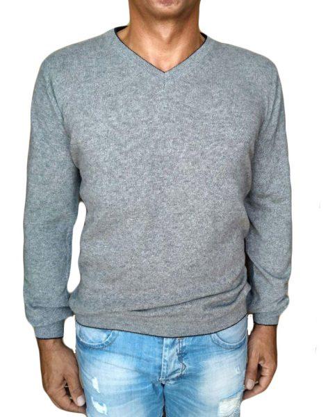 maglia di cachemire grigio - sweater in cashmere v-neck grey