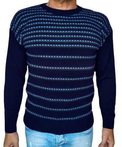 Maglia paricollo jacquard 47 - sweater round neck jacquar 47 blue