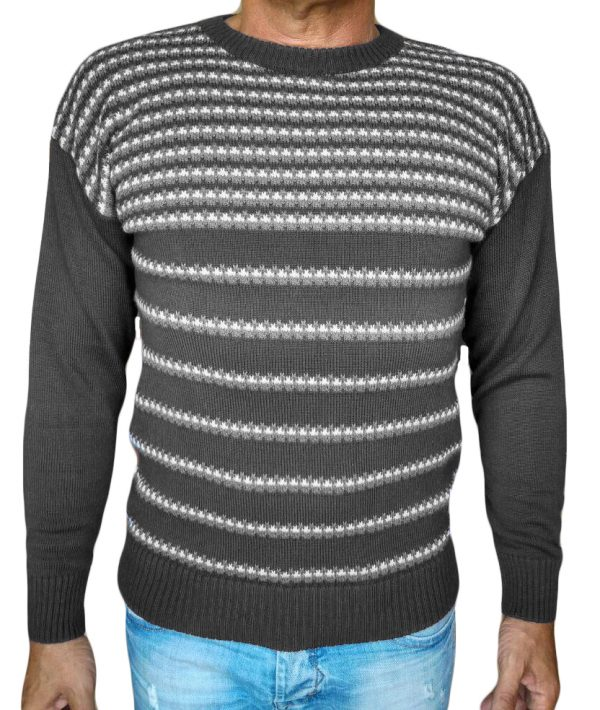 Maglia paricollo jacquard 47 - sweater round neck jacquar 47 grey