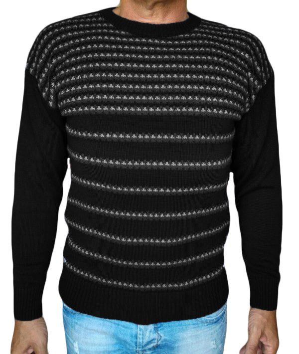 Maglia paricollo jacquard 47 - sweater round neck jacquar 47 black