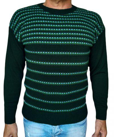 maglia manica scesa petrolio scuro - sweater round neck jacquar 47 teal
