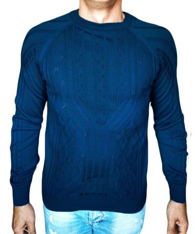 Maglia a Rombi con Noccioline - sweater with nuts-knit blue