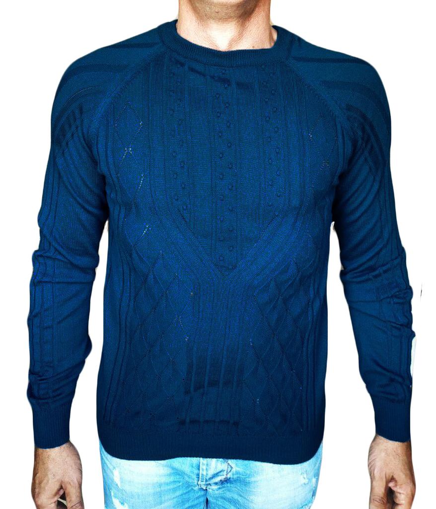 Maglia a Rombi con Noccioline - sweater with nuts-knit blue