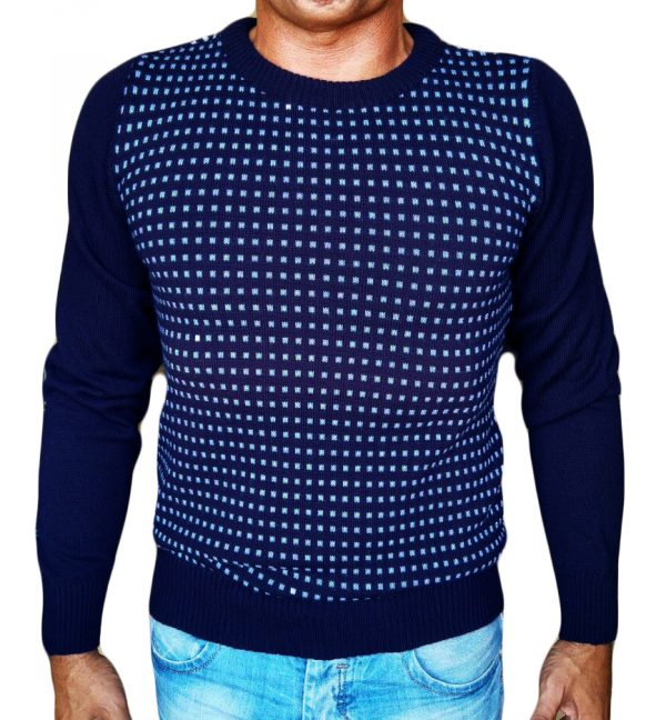 Maglia Jacquard Quadratini Blu - Blue Little Squares Jacquard Sweater