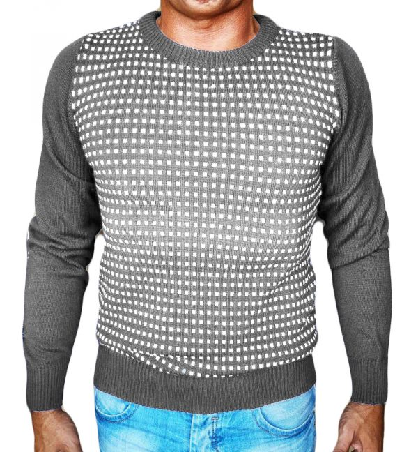 Maglia Jacquard Quadratini Grigio - Grey Little Squares Jacquard Sweater