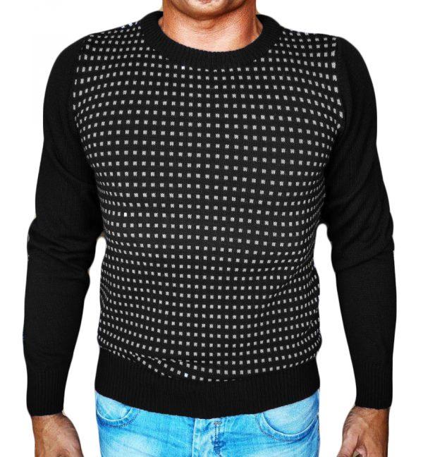Maglia Jacquard Quadratini Nero - Black Little Squares Jacquard Sweater