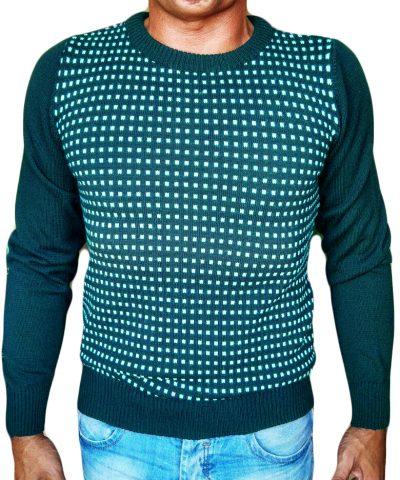 Maglia Paricollo a Quadri Jacquard - Sweater round neck with jaquard squares sea green