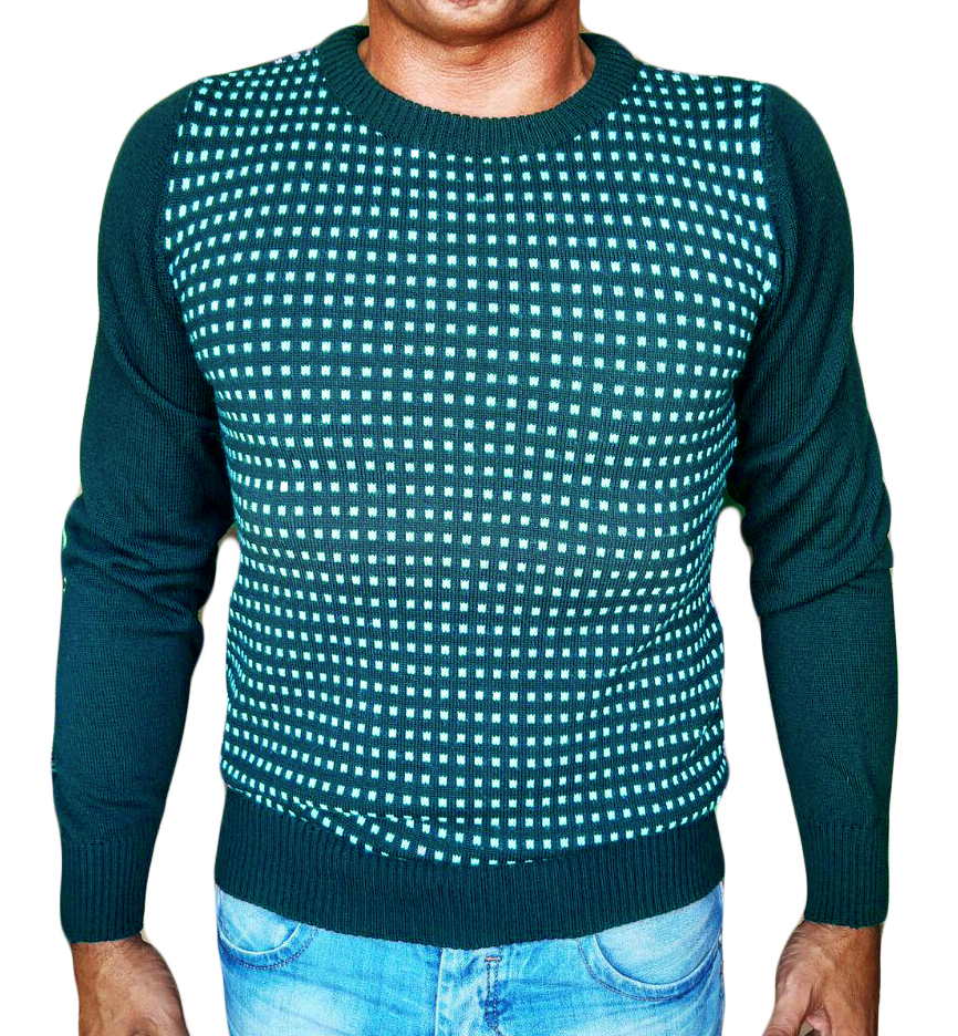 Maglia Paricollo a Quadri Jacquard - Sweater round neck with jaquard squares sea green