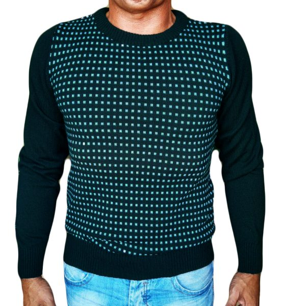 Maglia Paricollo a Quadri Jacquard - Sweater round neck with jaquard squares teal
