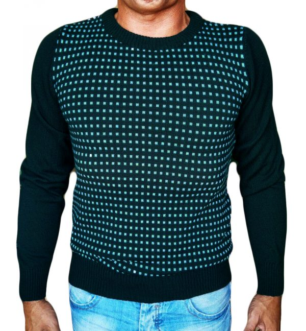 Maglia Paricollo a Quadri Jacquard - Sweater round neck with jaquard squares teal