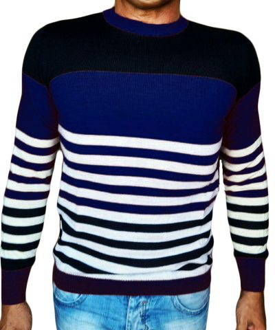 Maglia Girocollo Rigata - Sweater with rows blue