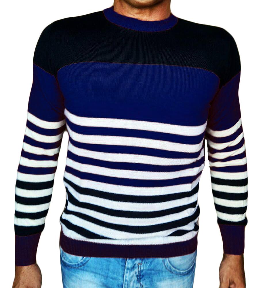 Maglia Girocollo Rigata - Sweater with rows blue