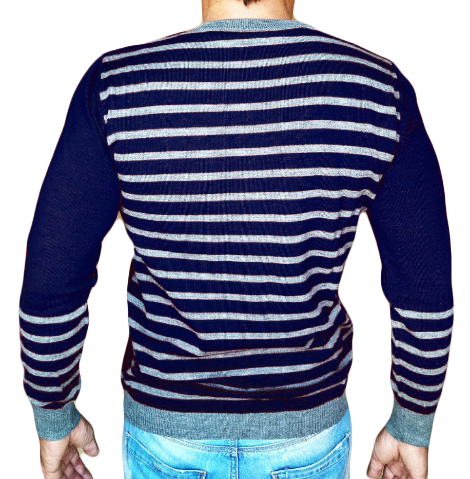 Maglia Girocollo Rigata 1 - Sweater with rows on back blue - backside
