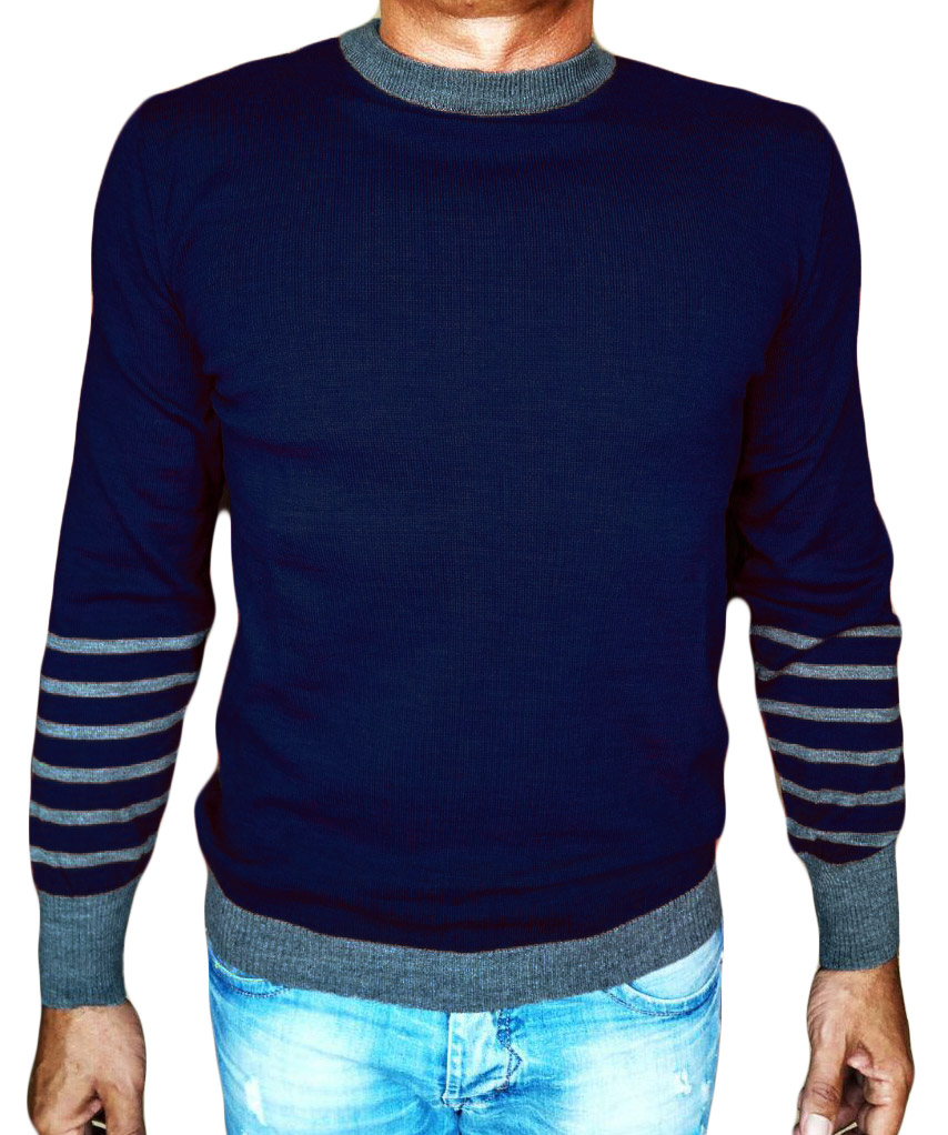 Maglia Girocollo Rigata 1 Sweater with rows on back blue - front side