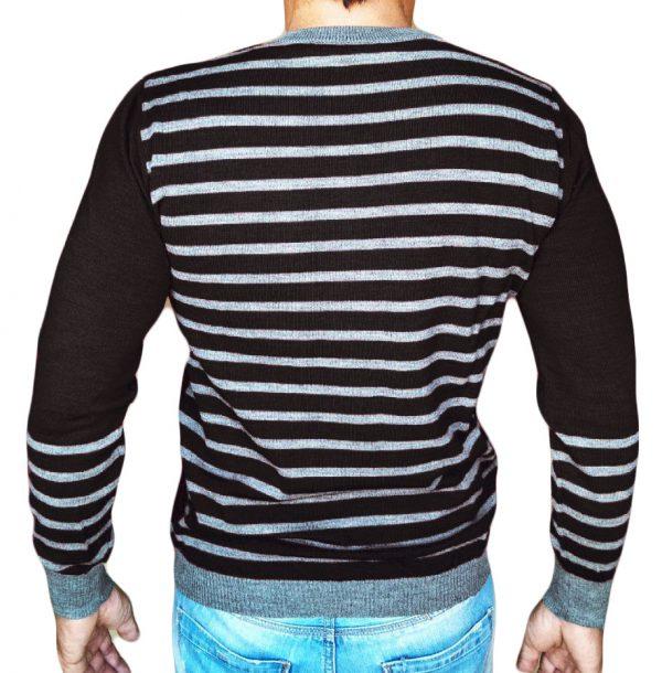 Maglia Girocollo Rigata 1 Sweater with rows on back black - backside